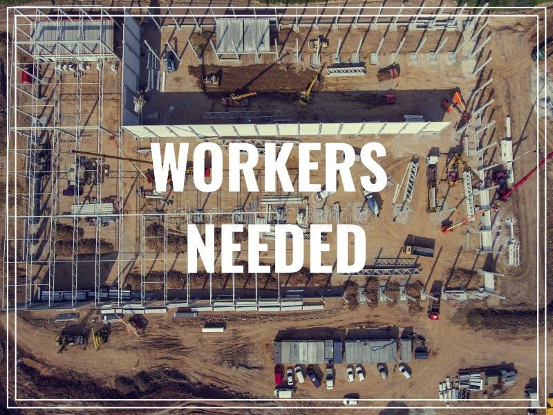 Trabalhadores da palavra necessários sobre o lugar industrial de cima de foto de stock