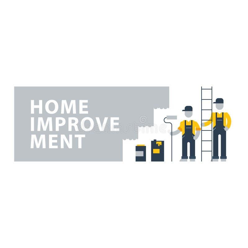 Trabalhadores da pintura de casa, povos da construção ilustração stock