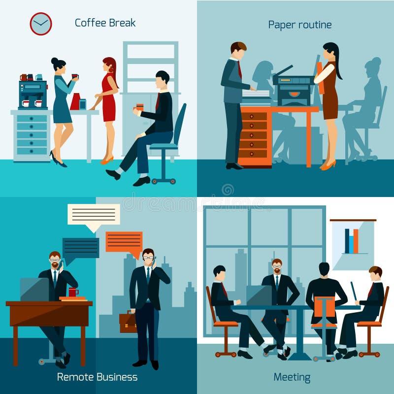 Trabalhadores de escritório ajustados ilustração royalty free