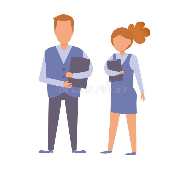 Trabalhadores de escritório com os dobradores em suas mãos Vetor do homem e da mulher cartoon Arte isolada ilustração stock