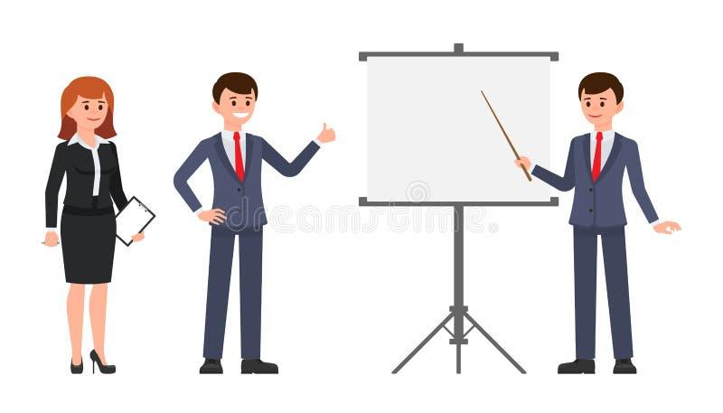 Trabalhadores de escritório masculinos e fêmeas que fazem o relatório na carta de aleta Ilustração do vetor de colegas de trabalh ilustração stock