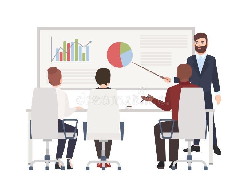 Trabalhadores de escritório na reunião do whiteboard Homem farpado que faz a apresentação na frente da audiência Personagens de b ilustração do vetor