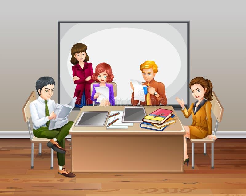 Trabalhadores de escritório que encontram-se na sala ilustração do vetor