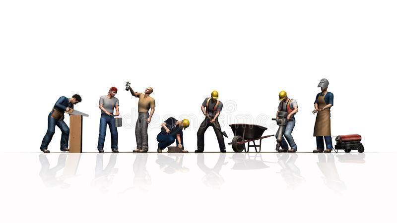 Trabalhadores diferentes com suas ferramentas - isoladas no fundo branco ilustração do vetor