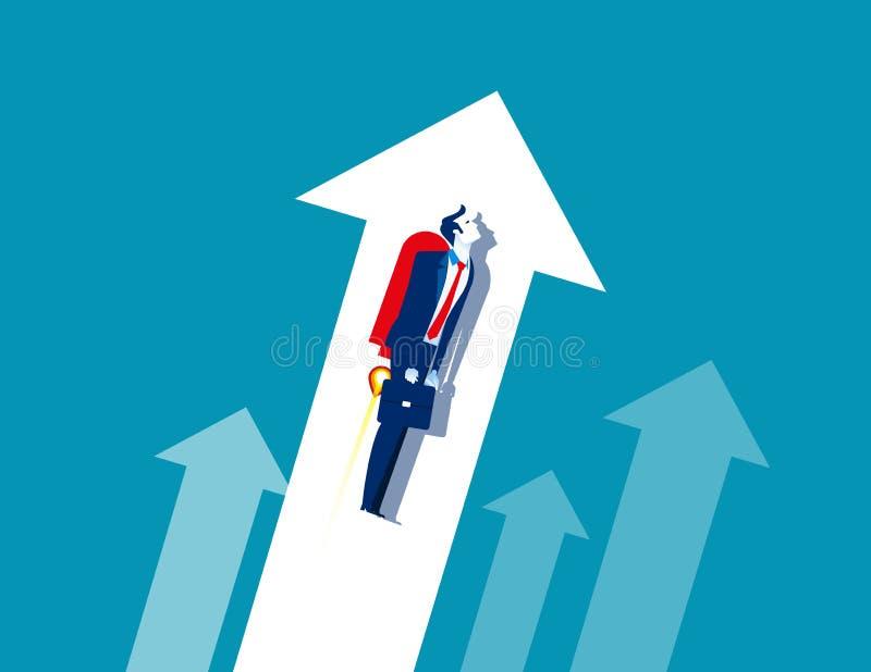 Trabalhadores do crescimento do homem de negócios Voo do negócio do conceito acima da ilustração do vetor, estilo de caráter liso ilustração royalty free