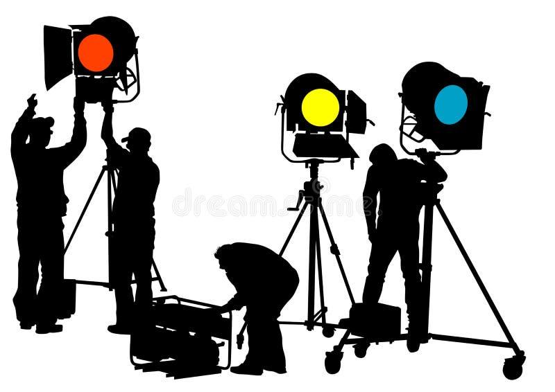 Trabalhadores do equipamento de iluminação ilustração stock