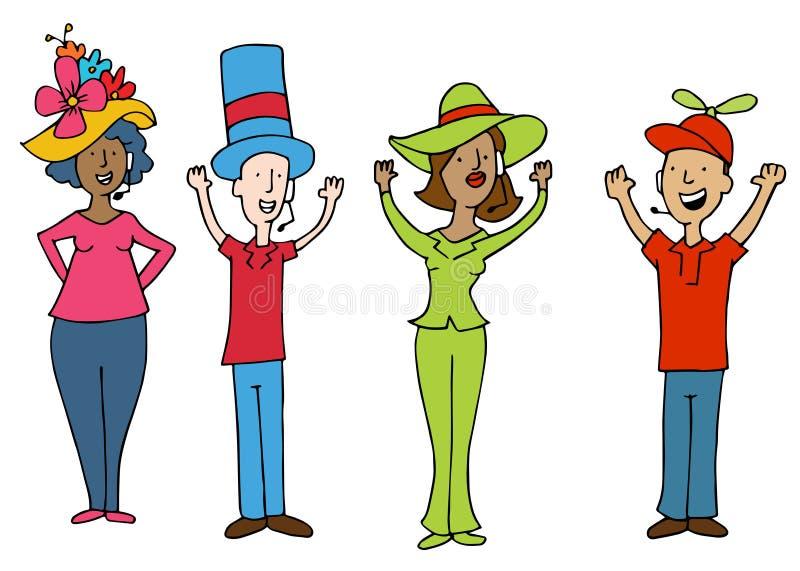 Trabalhadores do operador dos auriculares que vestem chapéus engraçados ilustração stock