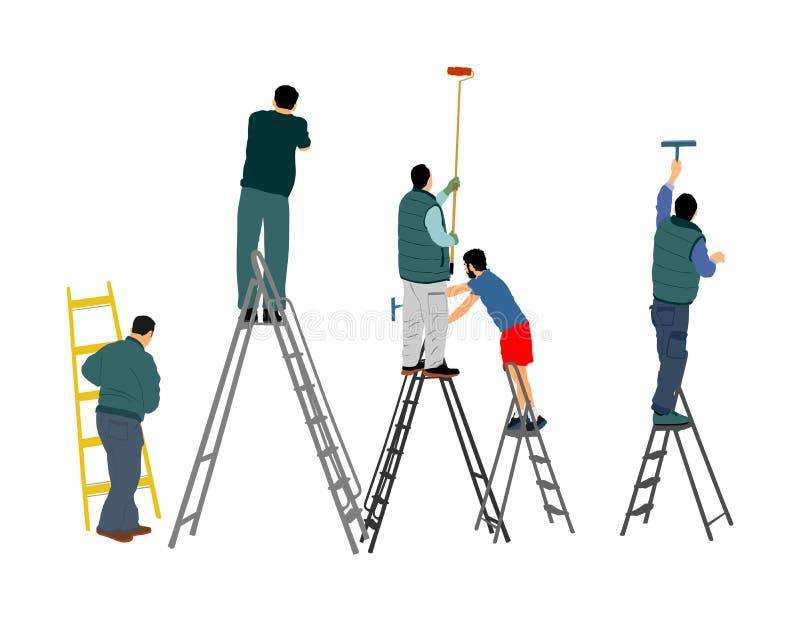 Trabalhadores do pintor na ilustração do vetor da escada isolada no branco r ilustração do vetor