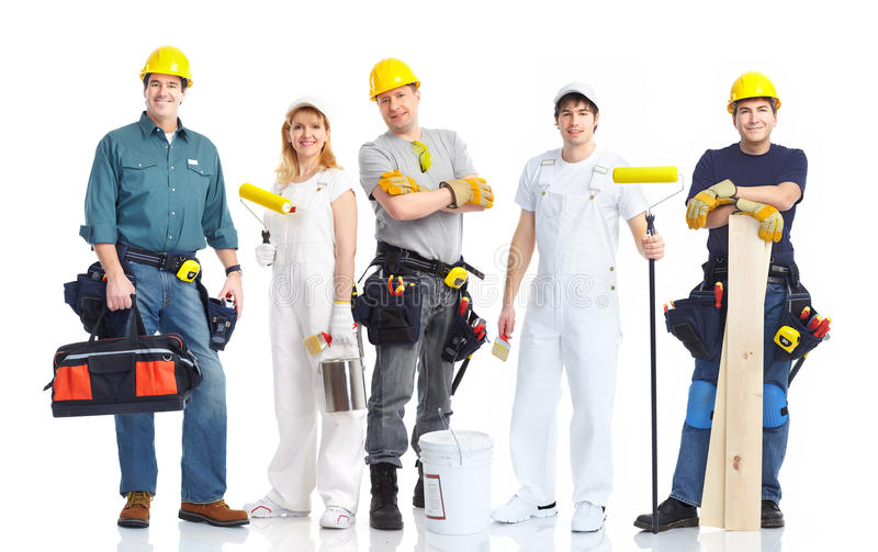 Trabalhadores dos contratantes foto de stock royalty free