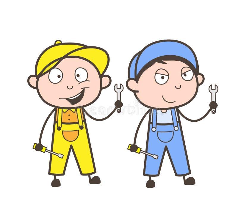 Trabalhadores dos desenhos animados com ilustração do vetor das ferramentas de ajuste ilustração royalty free