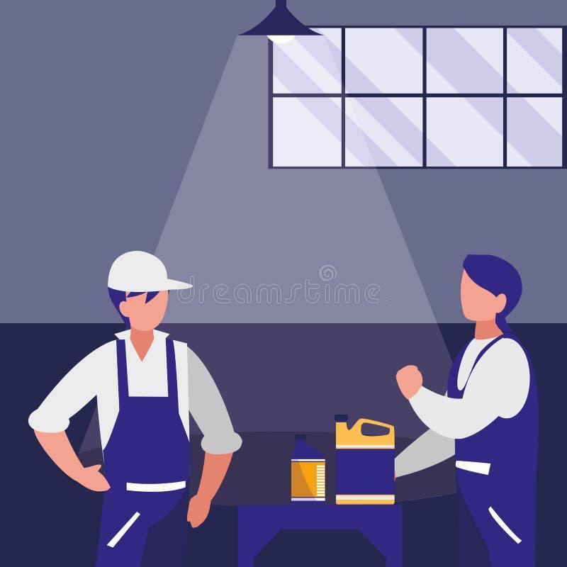 Trabalhadores dos mecânicos com caráteres do galão do óleo ilustração do vetor