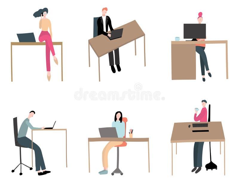 Trabalhadores dos tipos diferentes grupo dos personagens de banda desenhada da cena Vetor ilustração do vetor
