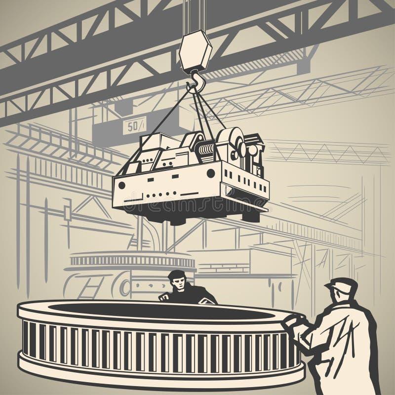 Trabalhadores e guindaste ilustração stock