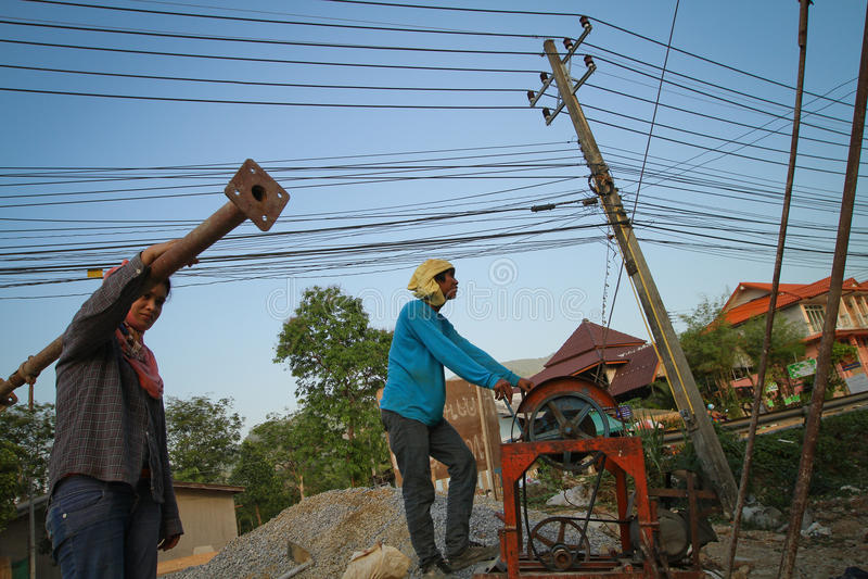 Trabalhadores emigrantes de Cambodia em Tailândia foto de stock royalty free