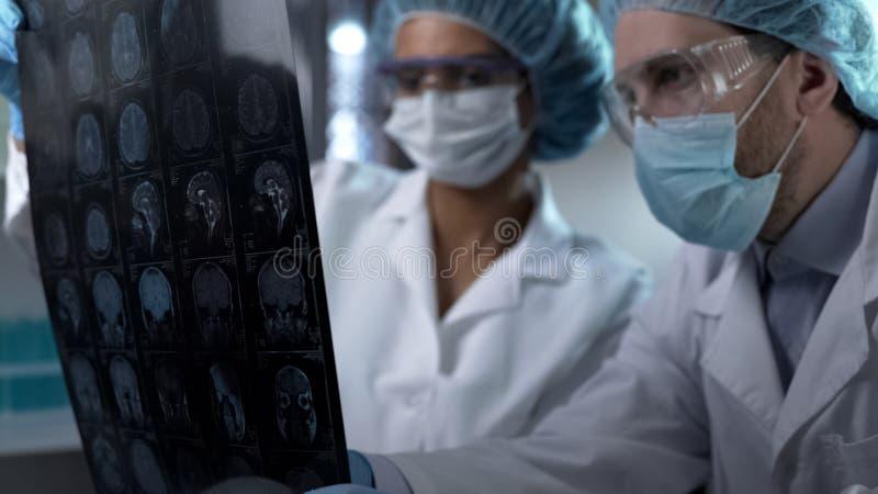 Trabalhadores médicos que olham o cérebro humano MRI, discutindo o resultado para ajustar o diagnóstico imagens de stock royalty free