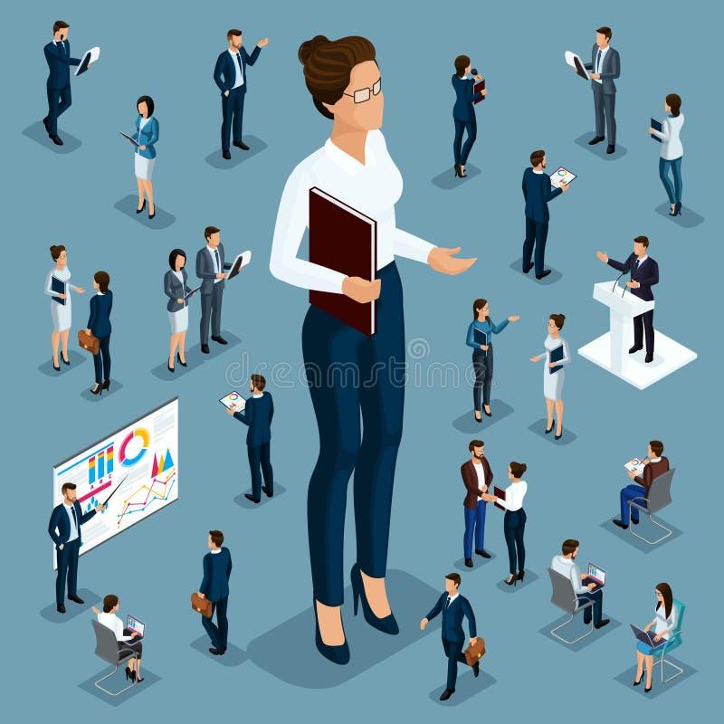 Trabalhadores pequenos isométricos do homem grande dos povos, do homem de negócios 3d e os subordinados dos desenhos animados, di ilustração stock