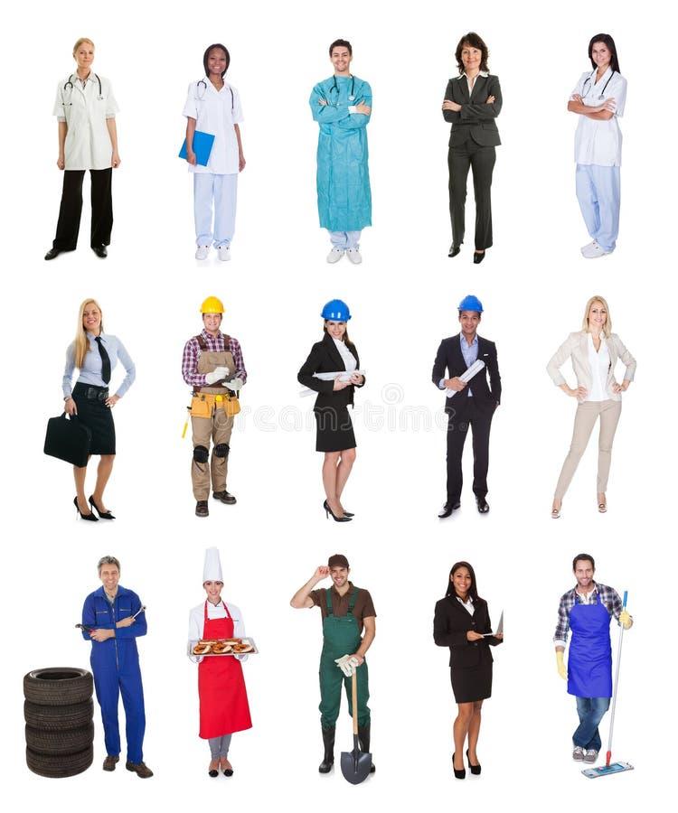 Trabalhadores profissionais, homem de negócios, cozinheiros, doutores, foto de stock royalty free