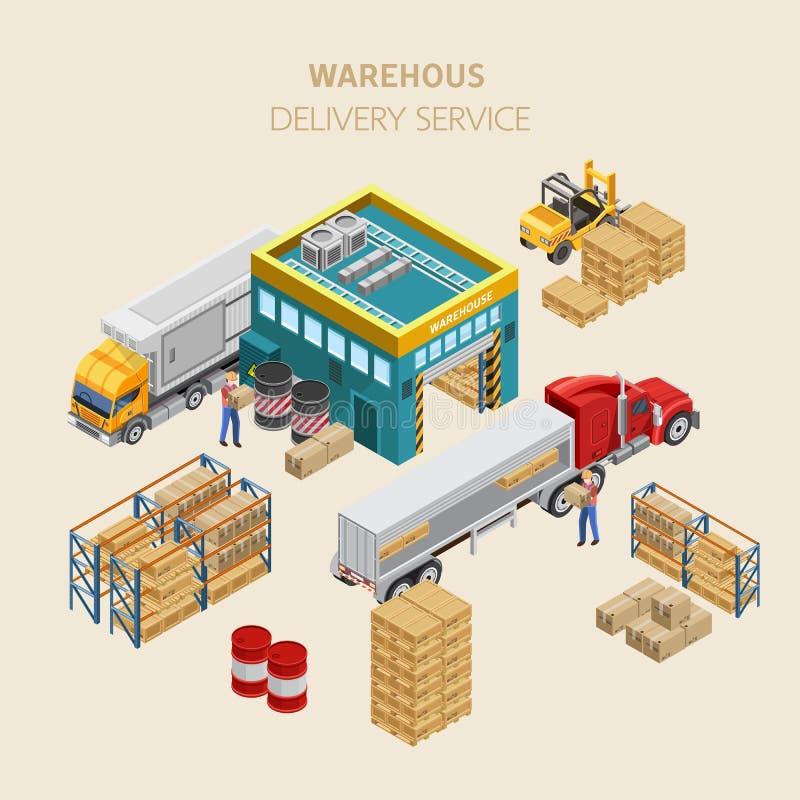 Trabalhadores que carregam caminhões perto do depósito ilustração stock
