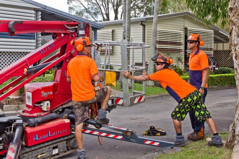 Trabalhadores que preparam a máquina desbastadora da cereja imagem de stock royalty free