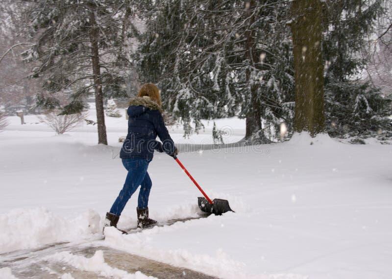 Trabalhando com pá a neve duas mãos na pá fotografia de stock royalty free