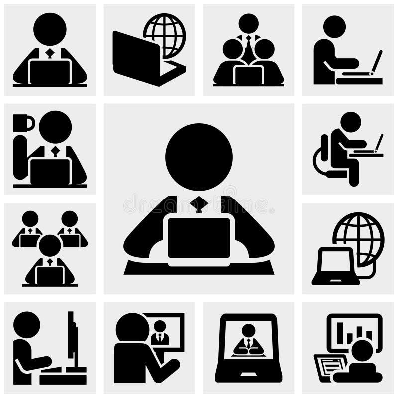 Trabalhar em ícones do vetor do computador ajustou-se no cinza ilustração royalty free