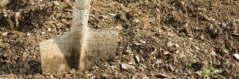 Trabalhe com pá no solo, jardinando/ferramenta de funcionamento agrícola imagens de stock