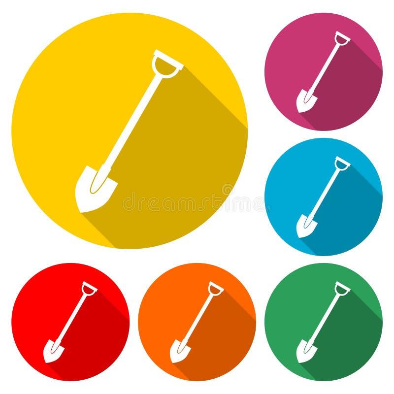 Trabalhe com pá o ícone, pá da ferramenta de jardim, ícone da cor com sombra longa ilustração royalty free