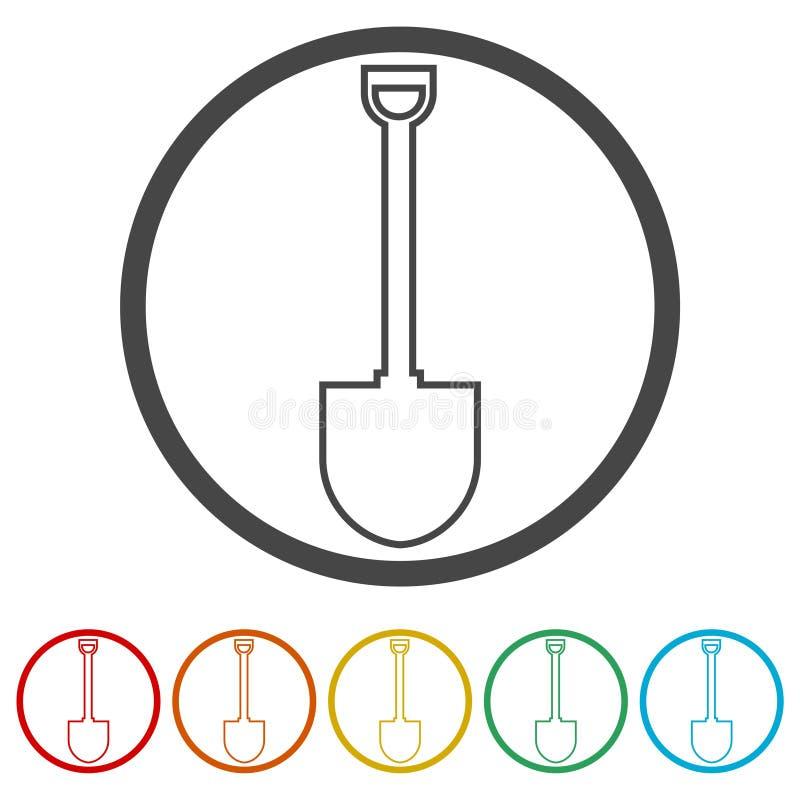 Trabalhe com pá o ícone, pá da ferramenta de jardim, 6 cores incluídas ilustração do vetor