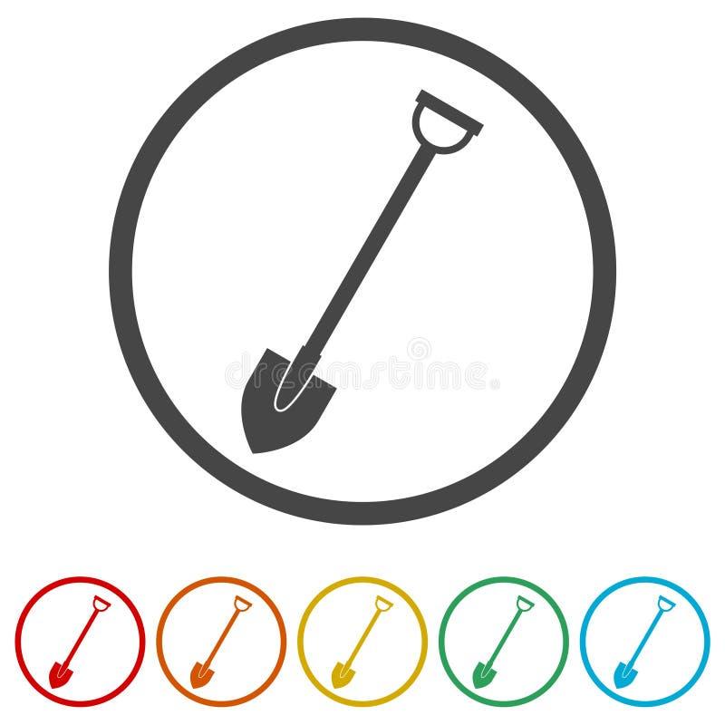 Trabalhe com pá o ícone, pá da ferramenta de jardim, 6 cores incluídas ilustração stock