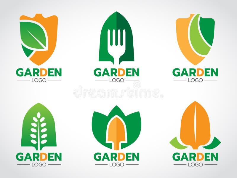 Trabalhe com pá o logotipo para a cenografia agrícola e jardinando do vetor ilustração royalty free