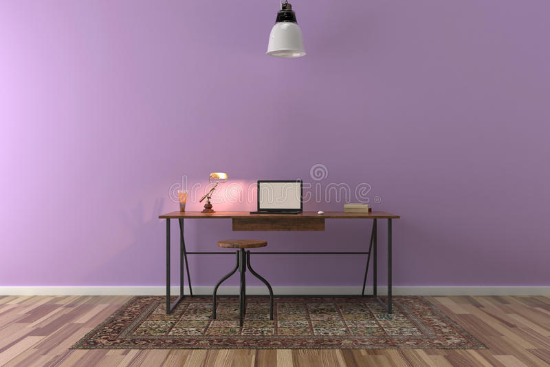 Trabalhe a mesa na sala vazia com a parede grande no fundo ilustração stock