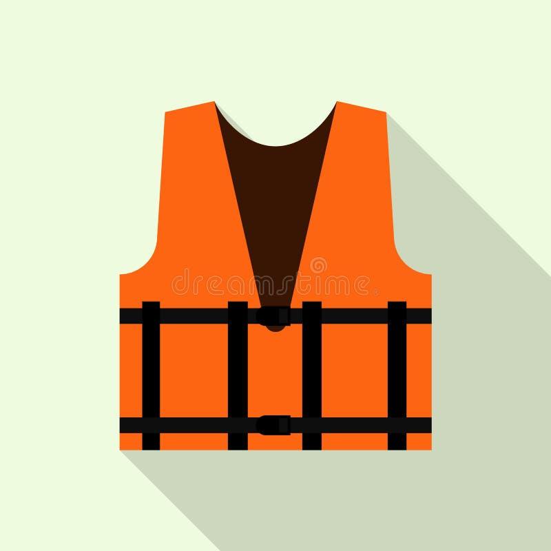 Trabalhe o ícone reflexivo alaranjado da veste, estilo liso ilustração do vetor