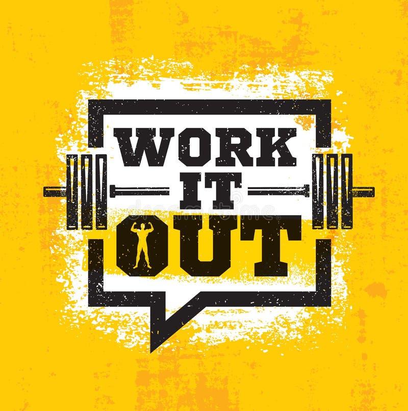Trabalhe-o para fora Conceito forte do elemento do exercício e do projeto do Gym da aptidão Citações da motivação do esporte Sina ilustração stock