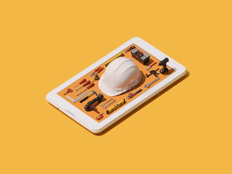 Trabalhe a segurança e o app do equipamento ilustração royalty free