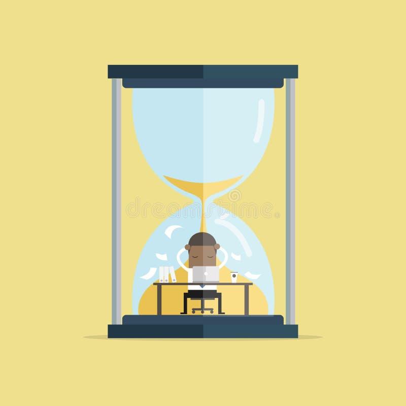 Trabalho africano do homem de negócios duramente no computador sobre o relógio grande da areia ilustração do vetor