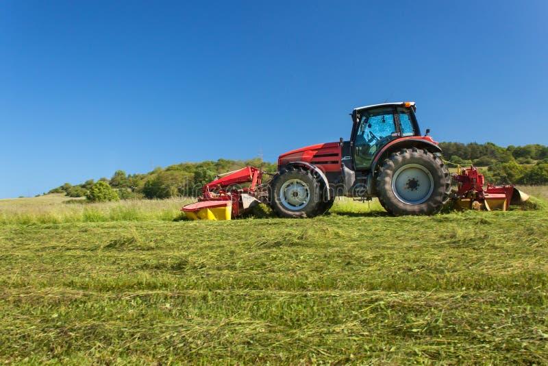 Trabalho agrícola Trator vermelho que sega o prado, República Checa O fazendeiro colheu o feno imagem de stock royalty free