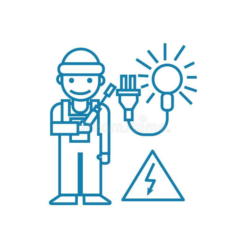 Trabalho como um conceito linear do ícone do eletricista Trabalhando como uma linha sinal do eletricista do vetor, símbolo, ilust ilustração royalty free