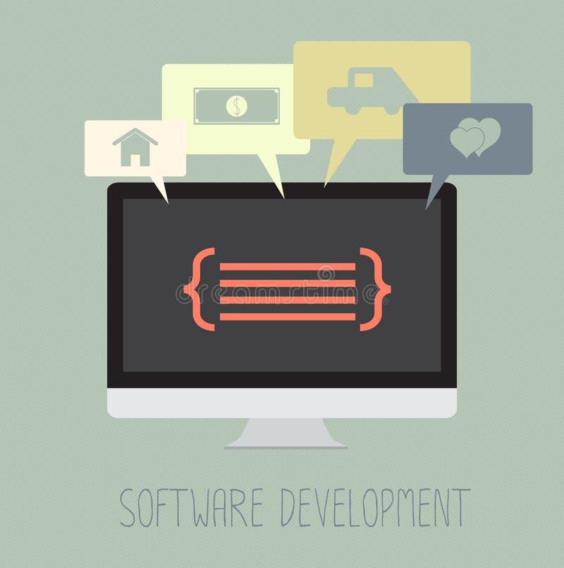 Trabalho da codificação da programação de software para o sonho ilustração royalty free