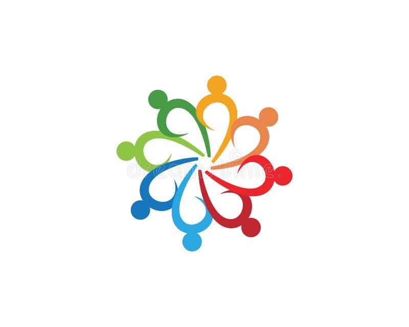 trabalho da equipe do grupo comunitário e logotipo e símbolos da adoção ilustração royalty free