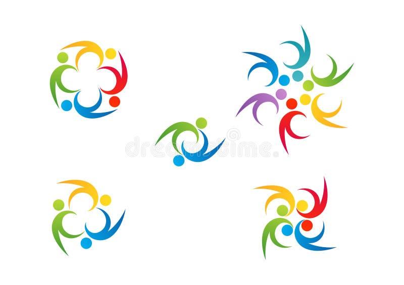 Trabalho da equipe do logotipo, símbolo da educação, projeto ajustado do vetor do ícone da celebração dos povos ilustração stock