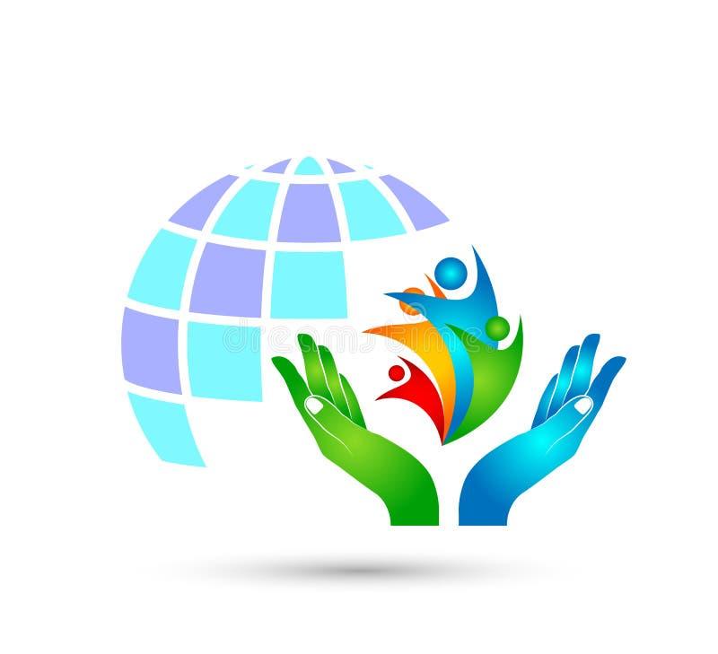 Trabalho da equipe da união dos povos que comemora o globo da celebração do bem-estar da felicidade com logotipo das mãos, símbol ilustração royalty free