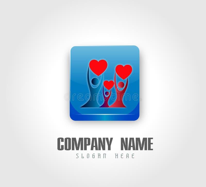 Trabalho da equipe da união dos povos que comemora o logotipo da casa da casa da união do amor da família do happyness ilustração royalty free