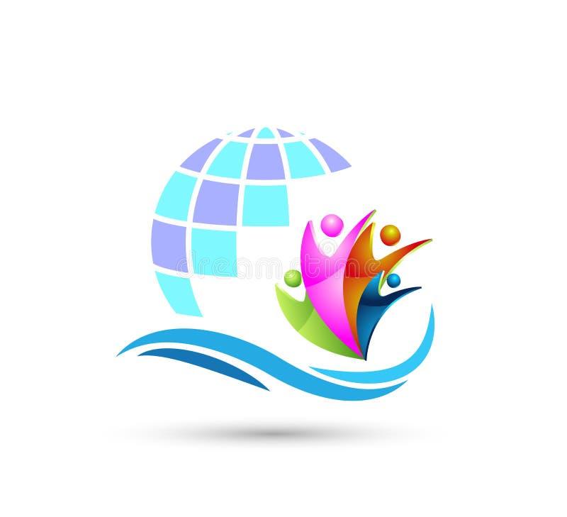 Trabalho da equipe da união dos povos que comemora o logotipo do globo da família do happyness/o logotipo feliz da casa da casa u ilustração do vetor