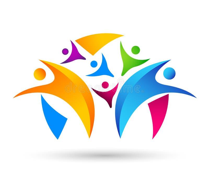 Trabalho da equipe da uni?o dos povos que comemora o projeto saud?vel do logotipo do elemento do ?cone do s?mbolo do logotipo da  ilustração stock