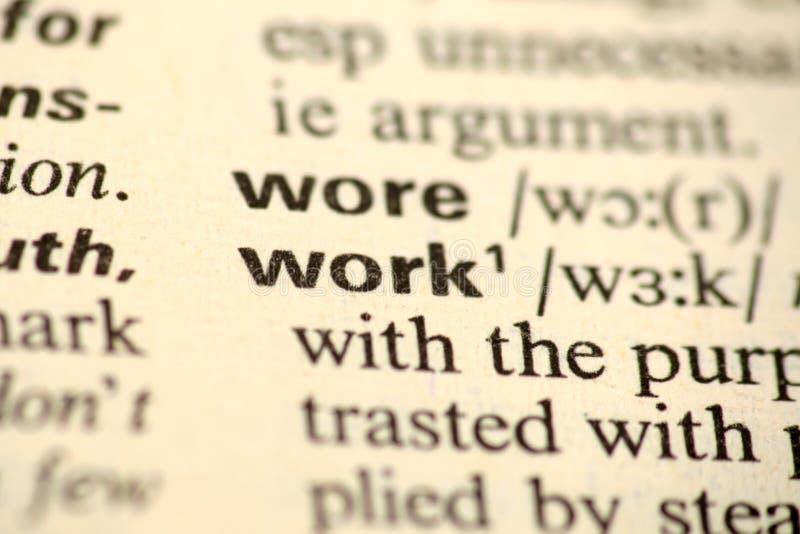Trabalho da palavra em um dicionário foto de stock