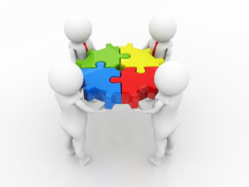Trabalho da parceria, da equipe, homens de negócio, pessoa do negócio e umas partes de enigma teamwork 3d rendem ilustração royalty free