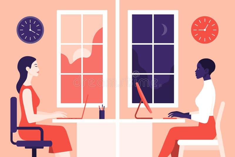 Trabalho das meninas no escritório As mulheres no perfil sentam-se em salas diferentes ilustração royalty free