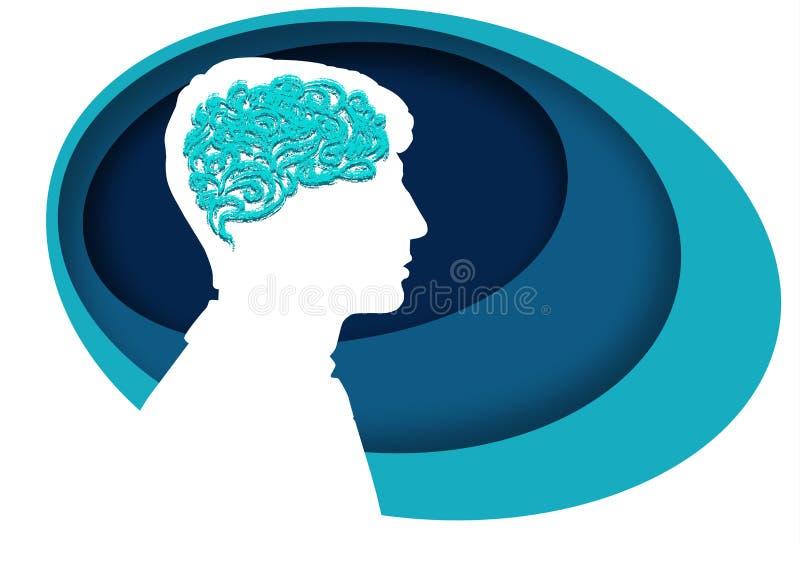 Trabalho de cérebro e faculdade criadora Silhueta branca no perfil, símbolo da inteligência humana ilustração do vetor