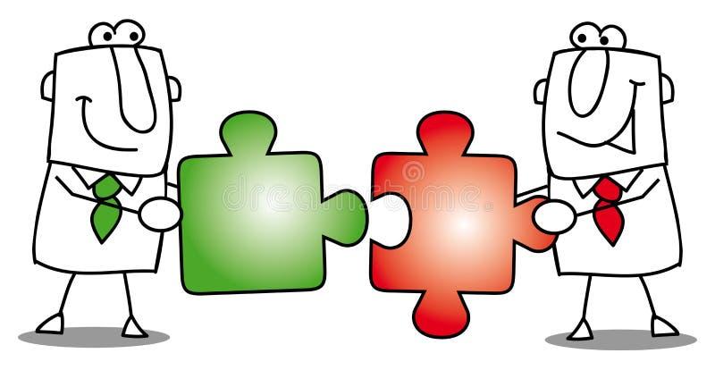 Trabalho de equipa-enigmas ilustração royalty free