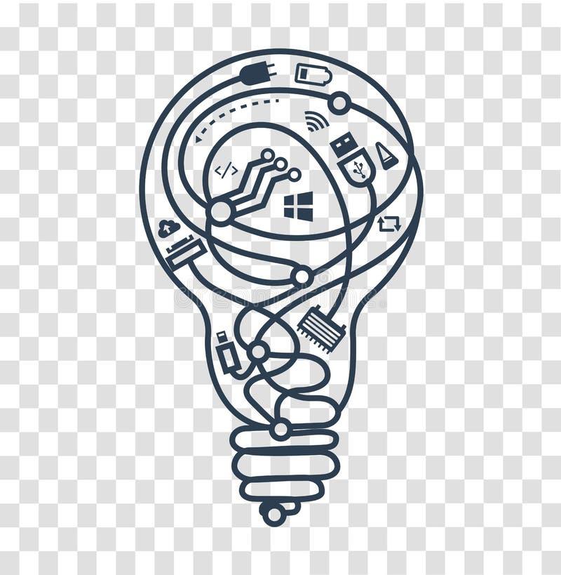 Trabalho do ícone da silhueta de administradores de sistema ilustração stock